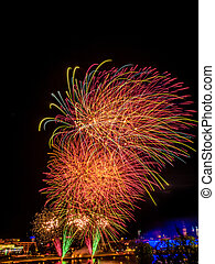 fireworks at new years eve. new year is celebrated.