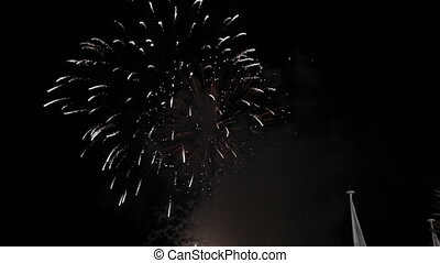 Fireworks at night in Cannes France