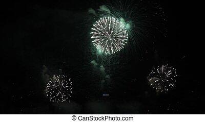 Fireworks at nightly sky