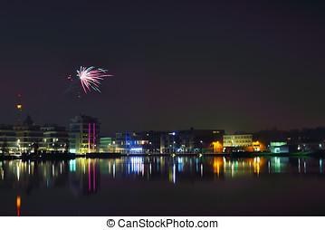Fireworks at phoenix lake at night