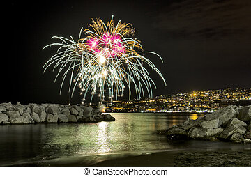 Fireworks at sea