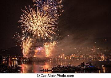 Heidelberg Castle Illumination - fireworks at the event...