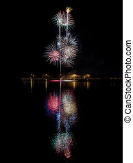 Fireworks at the lake - A fireworks display reflecting in ...