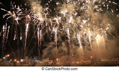 Fireworks at Valencia harbour, Spain - Colorful fireworks at...