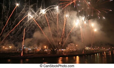 Fireworks at Valencia harbour, Spain