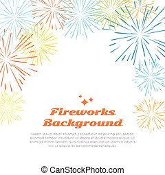 Fireworks Background. Colorful Salute on White.