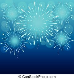 fireworks background - exploding fireworks on blue blurry...