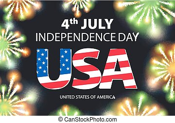 Fireworks background for 4th of July Independense Day vector