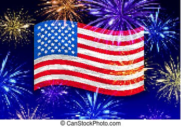 Fireworks background for Independence Day USA vector