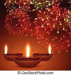 fireworks background with diwali diya