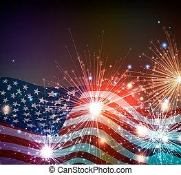 fireworks, bakgrund, för, 4 av juli