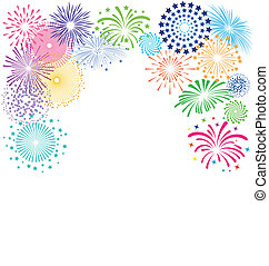 fireworks, bakgrund, ram, vit, färgrik