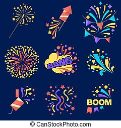 Fireworks Bangs Collection on Dark Blue Background