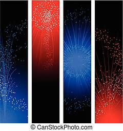 Fireworks banners for independence day in red and blue