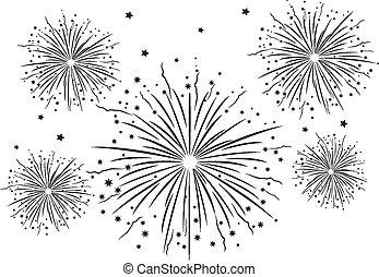 Fireworks Black and White .