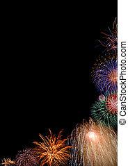 fireworks, bordo, colorito, mezzo