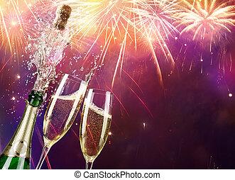 fireworks, bottiglia champagne