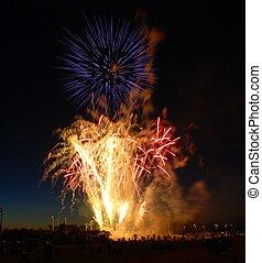 Fireworks burst display.