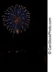 Fireworks Burst over River