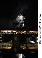 Fireworks by the historic Ponte Vecchio bridge