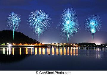 Fireworks celebrating over Lake Kawaguchiko at night with ...