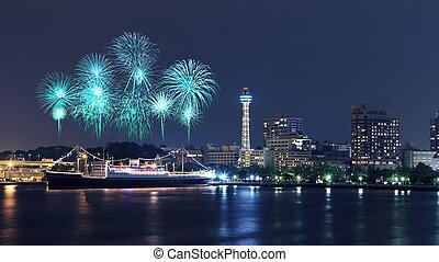 Fireworks celebrating over marina bay in Yokohama City,...