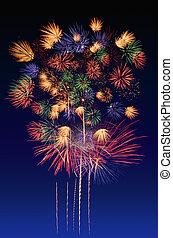 Fireworks celebration and the city night light background.