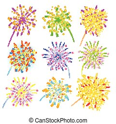 Fireworks celebration collection for holiday design.
