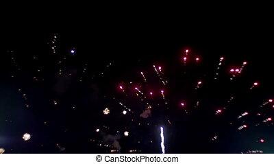 Fireworks Celebration in the Sky. Slow Motion - Fireworks...