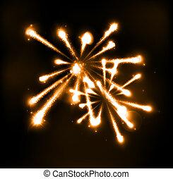 fireworks, cielo, notte