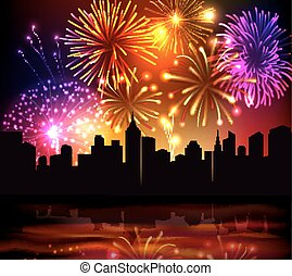 Fireworks City Background - Bright festive fireworks with...
