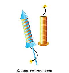 fireworks - illustration of fireworks on isolated background