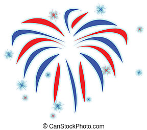 Fireworks - red white and blue fire works isolated over a...