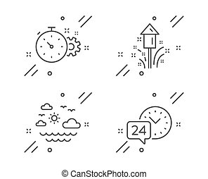 Fireworks, Cogwheel timer and Travel sea icons set. 24h service sign. Vector