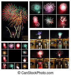 Fireworks collage, Images from Florence, Italy