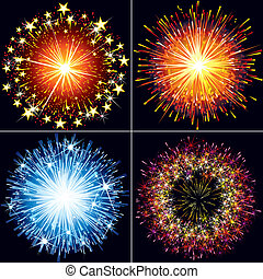 Fireworks - Collection of festive vector fireworks,...