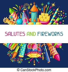 fireworks., coloré, pétards, différent, fond, pyrotechnie, salutes, types