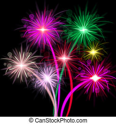 Fireworks Color Represents Explosion Background And...