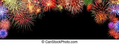 fireworks, colorito, modellato, arco, nero, bordo
