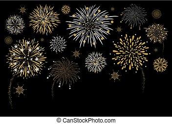 Fireworks design on black background vector illustration