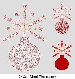 Fireworks Detonator Vector Mesh Network Model and Triangle...
