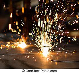 fireworks, di, cnc, lpg, gas, taglio, primo piano