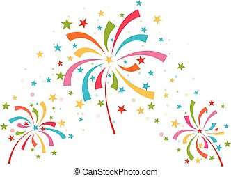 Fireworks different colors on white background vector