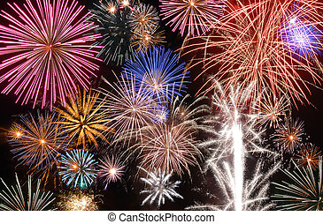 Fireworks Display - A large amount of fireworks exploding in...