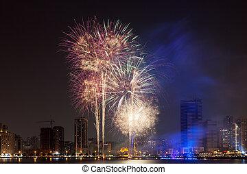 Fireworks display in Sharjah City, United Arab Emirates