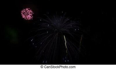 Fireworks display in various bright colors