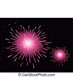 Fireworks display - New Year celebration. Stylized...