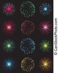 fireworks - vector fireworks set on black background