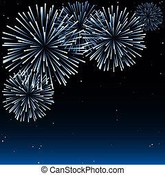 Fireworks - Holiday Background Illustration, Vector