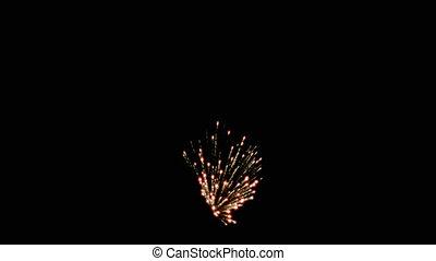 Fireworks - EXPL004HD - burst of 3 fireworks against night...